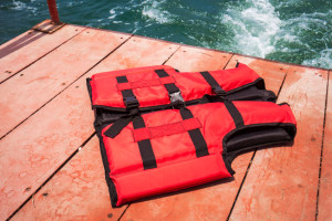 Red life jacket on boat