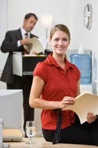 Businesswoman holding file folder